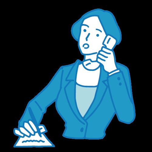 受付の女性イラスト(電話2)