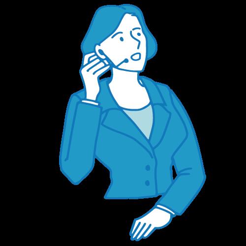 受付の女性イラスト(電話3)