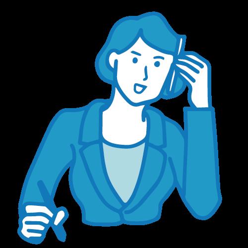 受付の女性イラスト(電話4)
