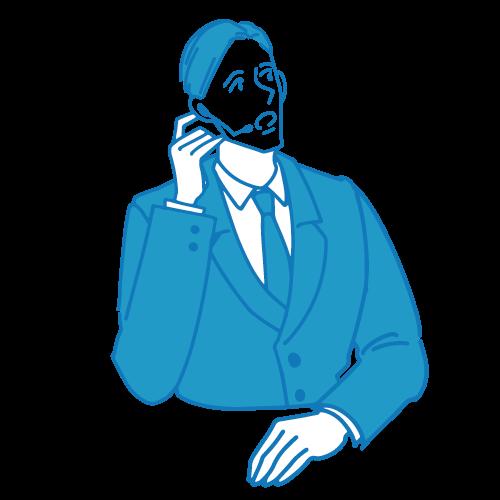 受付の男性イラスト(電話3)