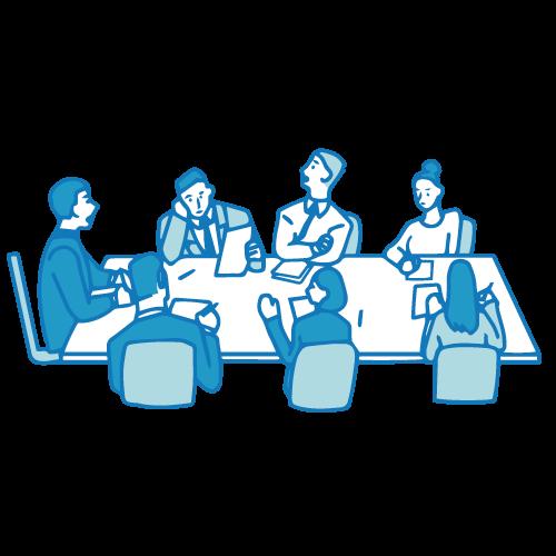 会議のイラスト(テーブル着席)