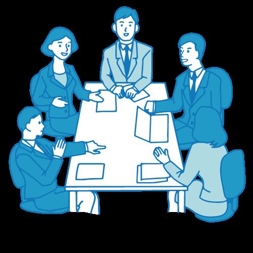 会議のイラスト(テーブル)