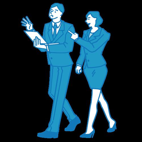 会議のイラスト(歩きながら)
